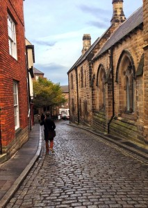 sam in a quaint alley in durham
