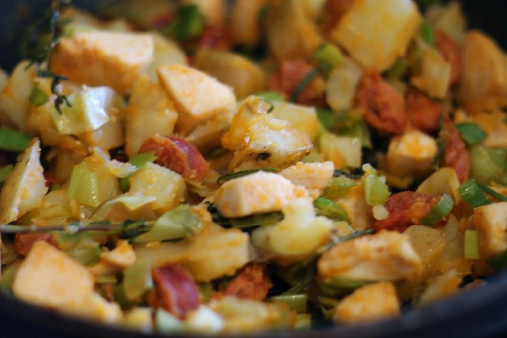 Chorizo, Chicken and Potato Open Pie recipes