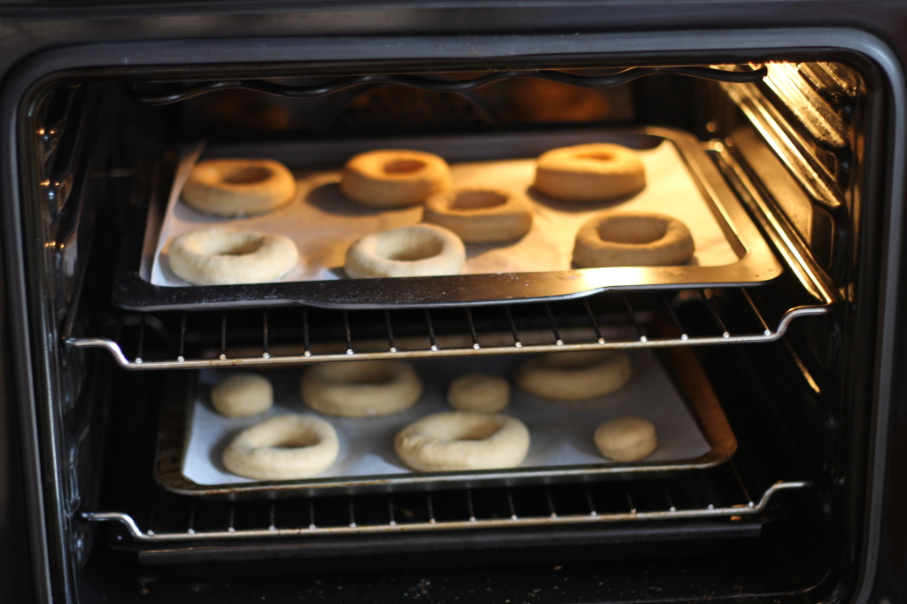 donuts in oven