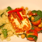 Halloumi with Chickpea Salsa and Couscous