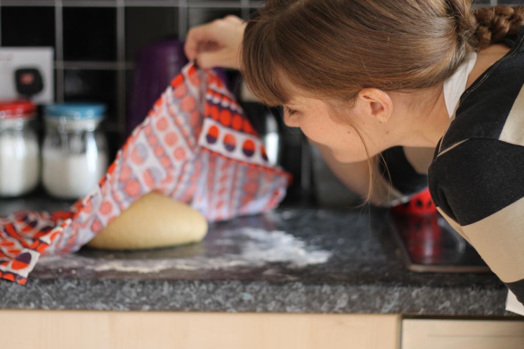 peering at dough