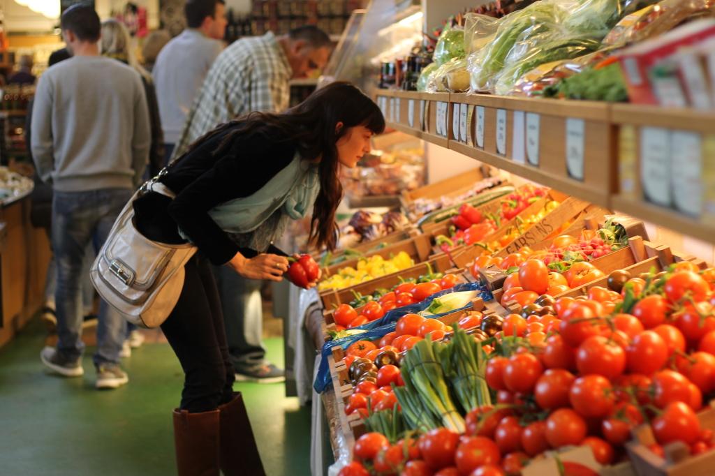 gazing at produce