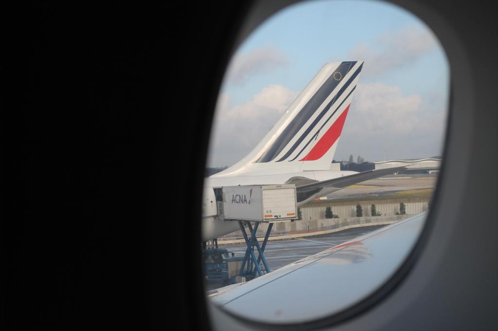plane through window