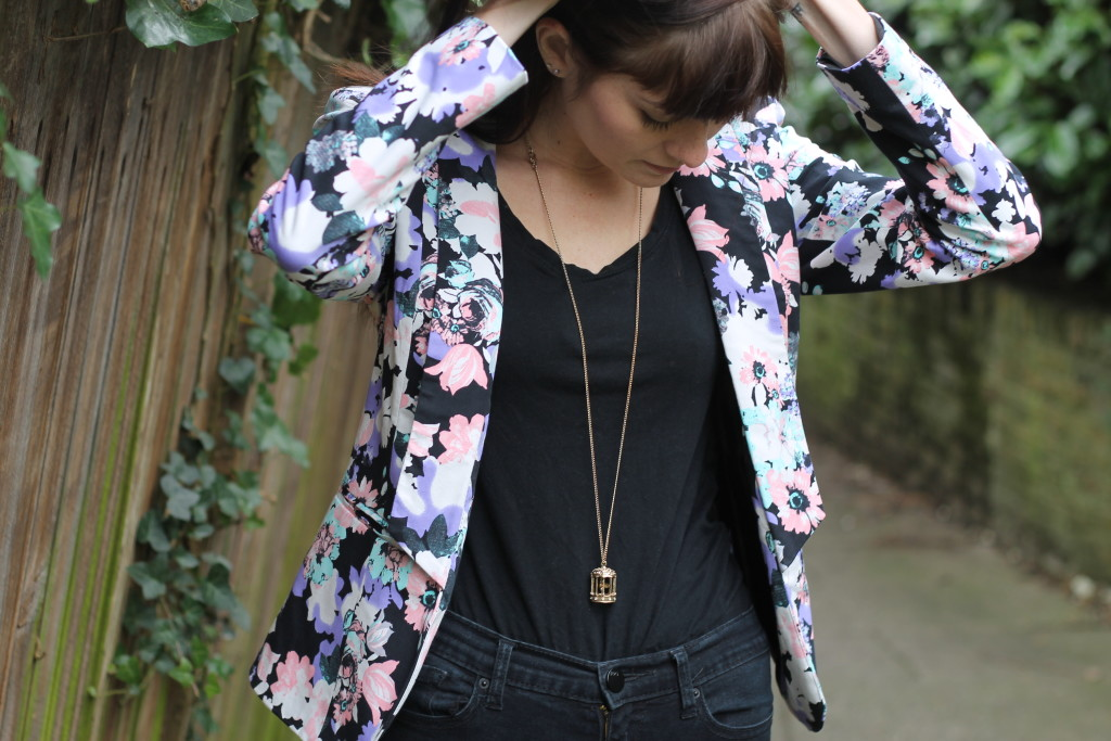 floral blazer and tee