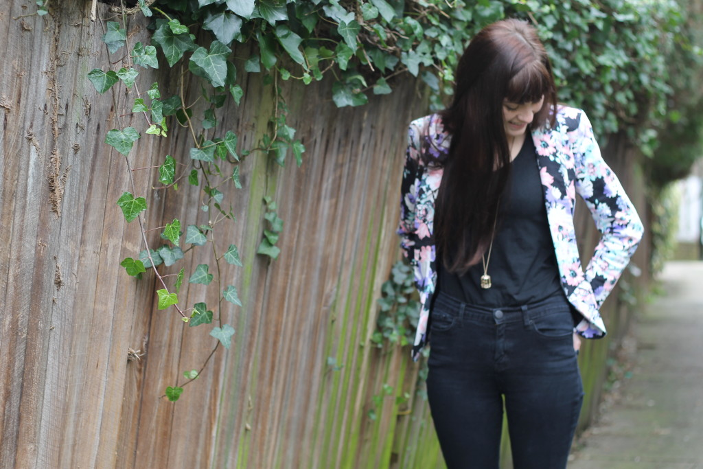 whole outfit with floral blazer