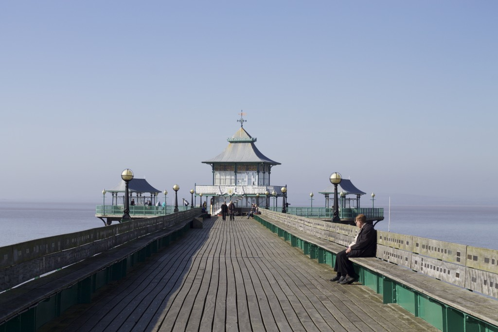 looking down the pier