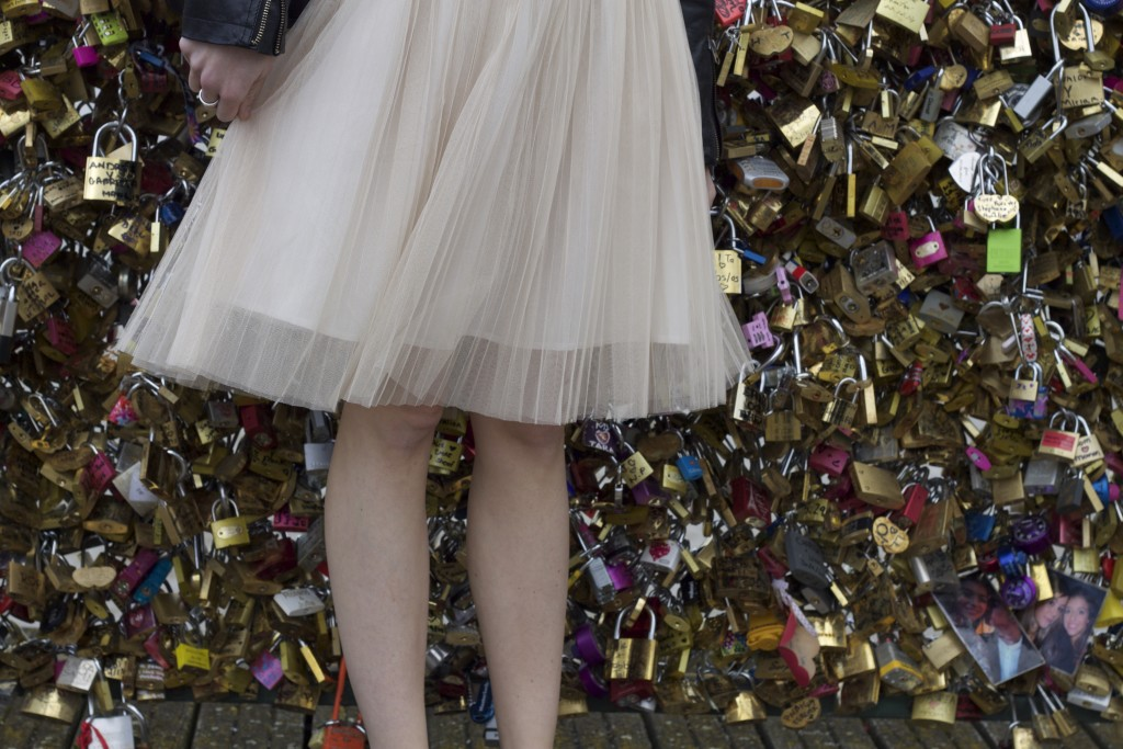 tulle skirt on lock bridge