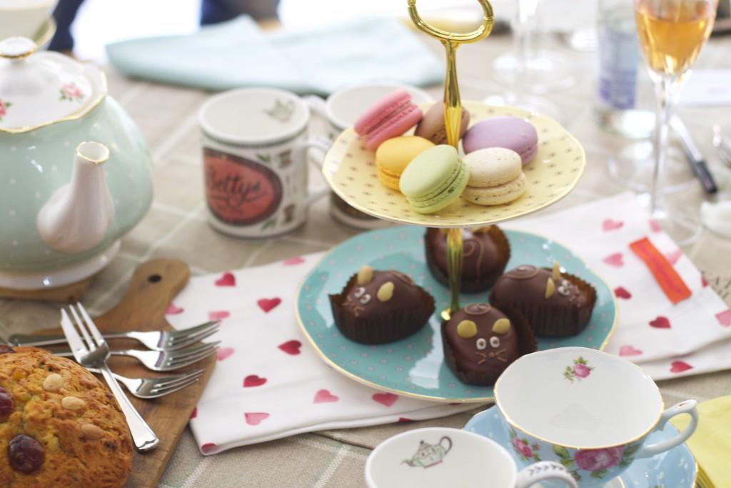 chocolate mice and macarons