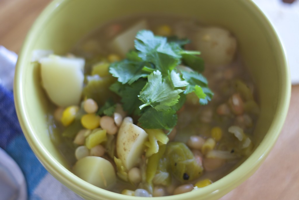 green chile stew close up