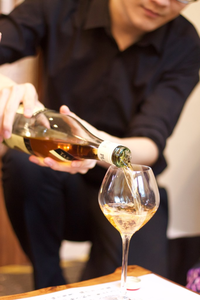 pouring plum wine