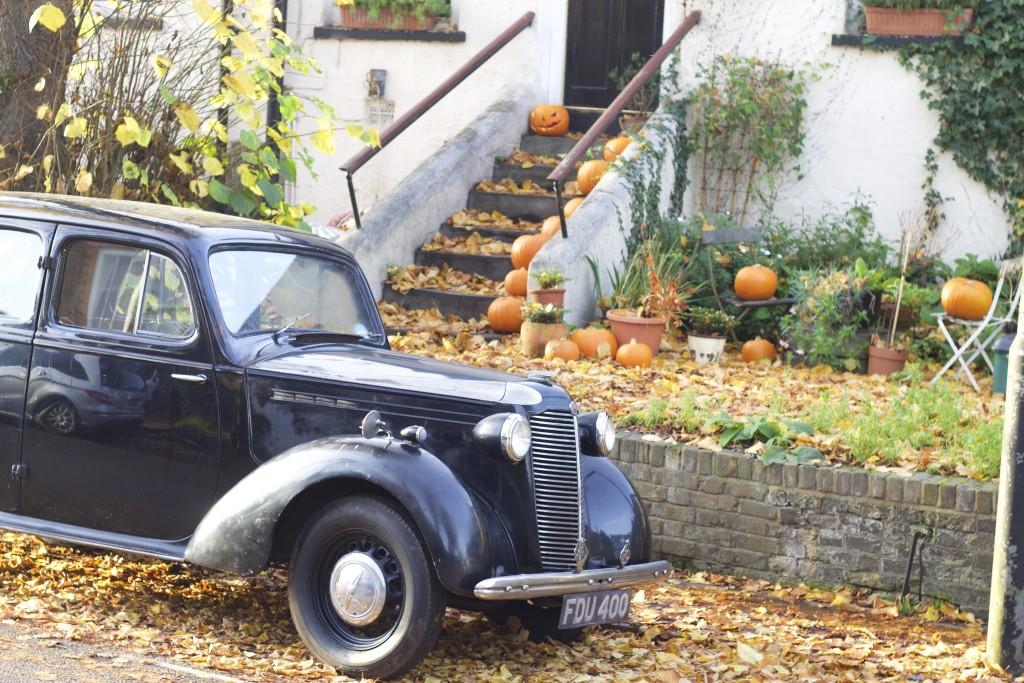pumpkins and vintage car