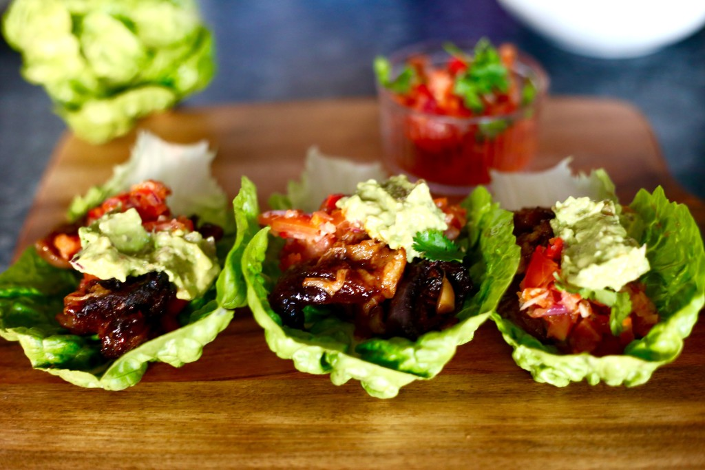 pulled pork lettuce tacos