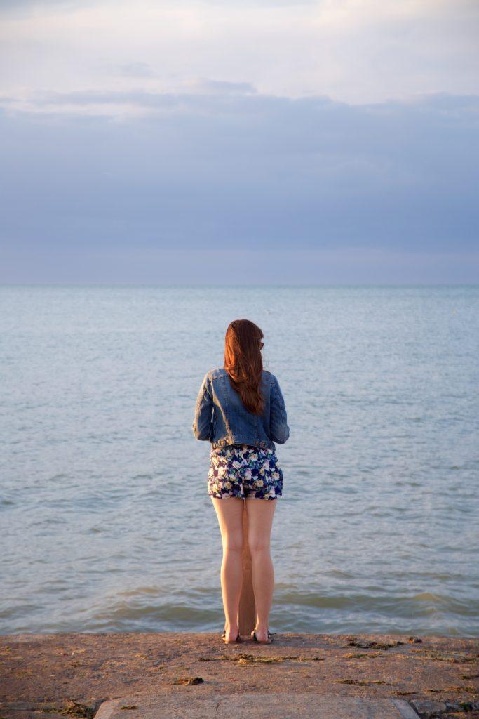 seaside sunset standing