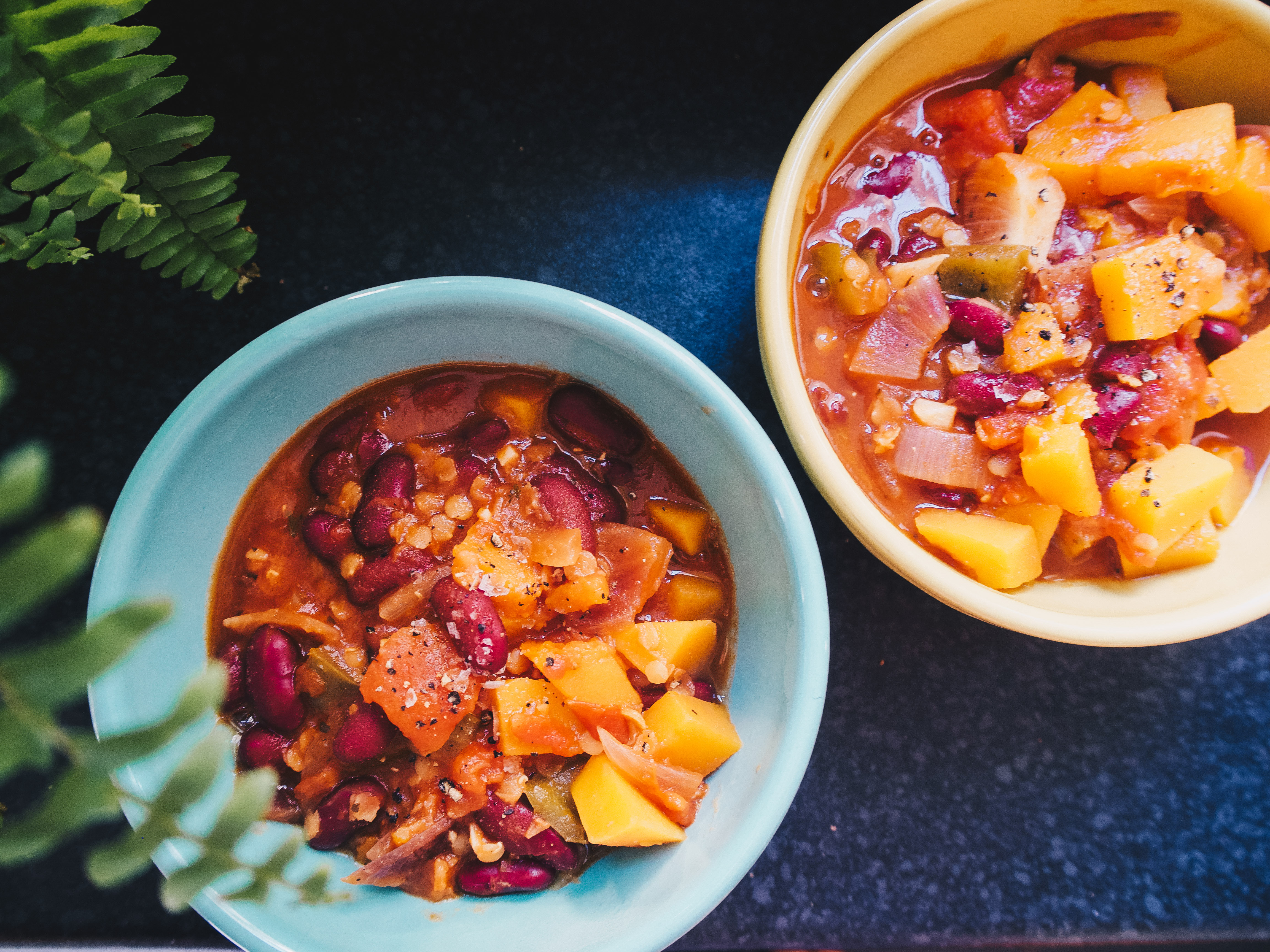bowls of Butternut Squash and Kidney Bean Stew
