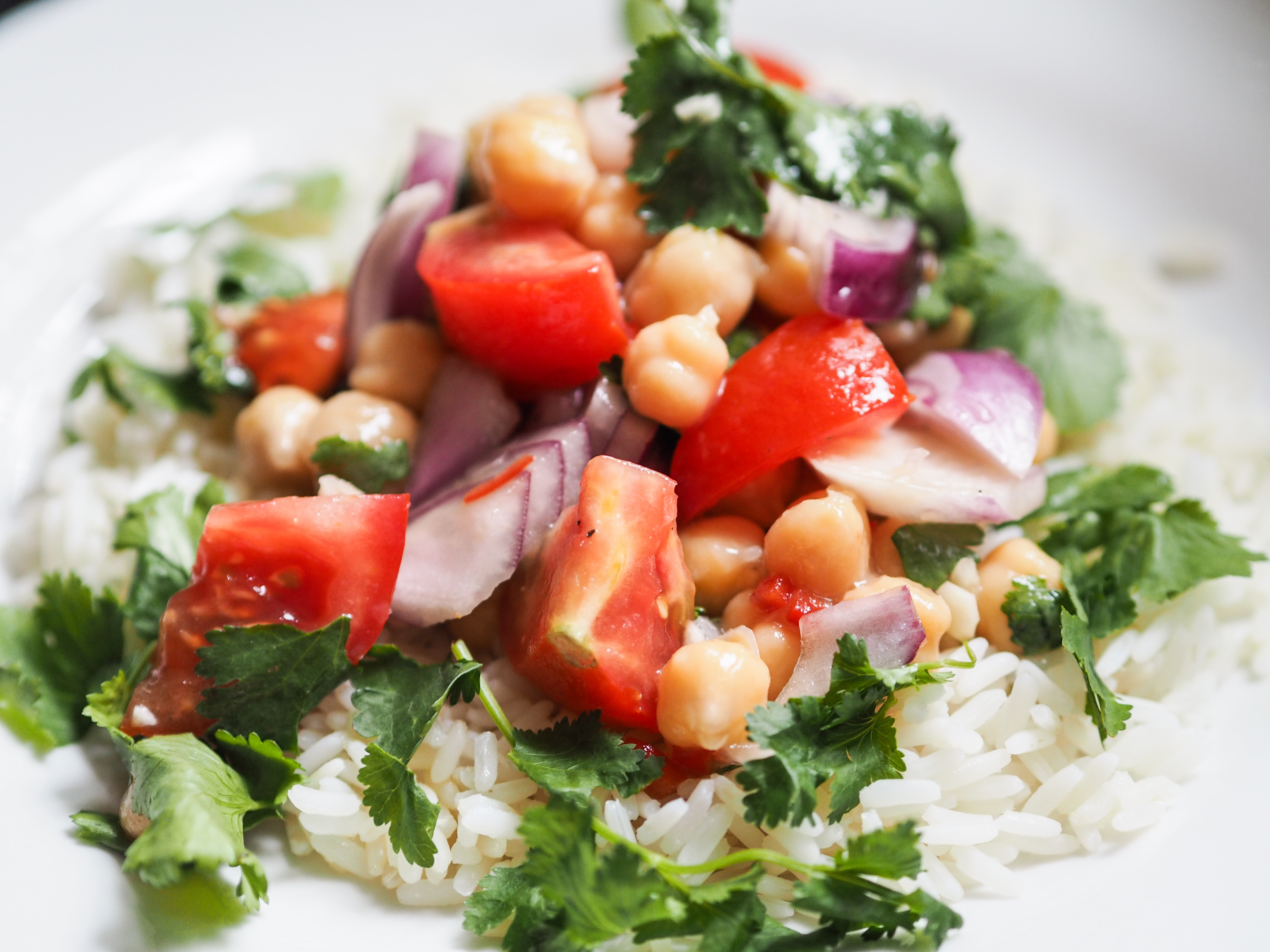 chickpea salad over rice