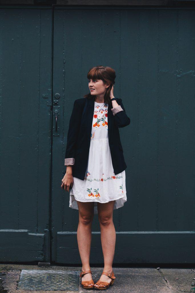 blazer and white dress