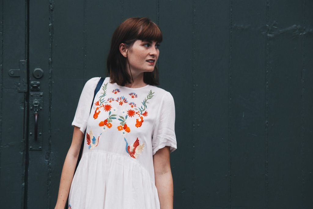 top of embroidered dress