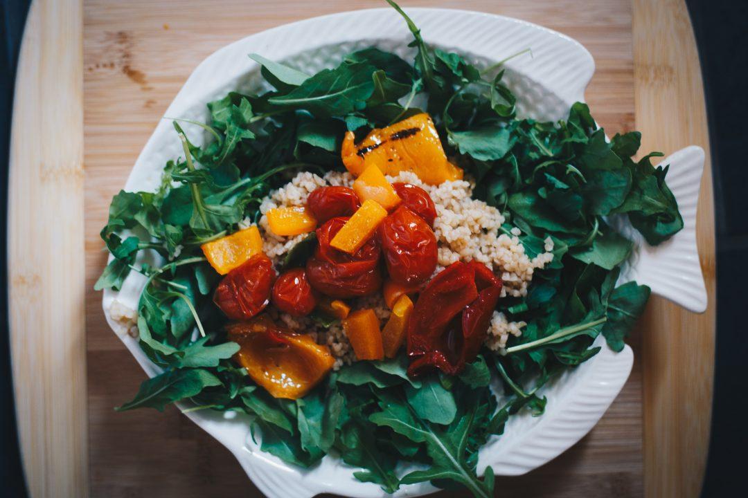 vegan dinner bulgar wheat and roasted tomatoes