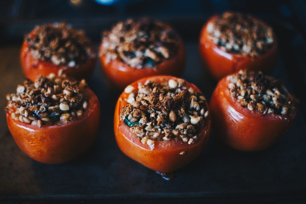 fresh out of the oven Cider & Barley Stuffed Tomatoes