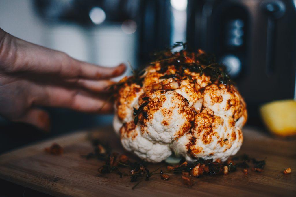 rubbing cauliflower