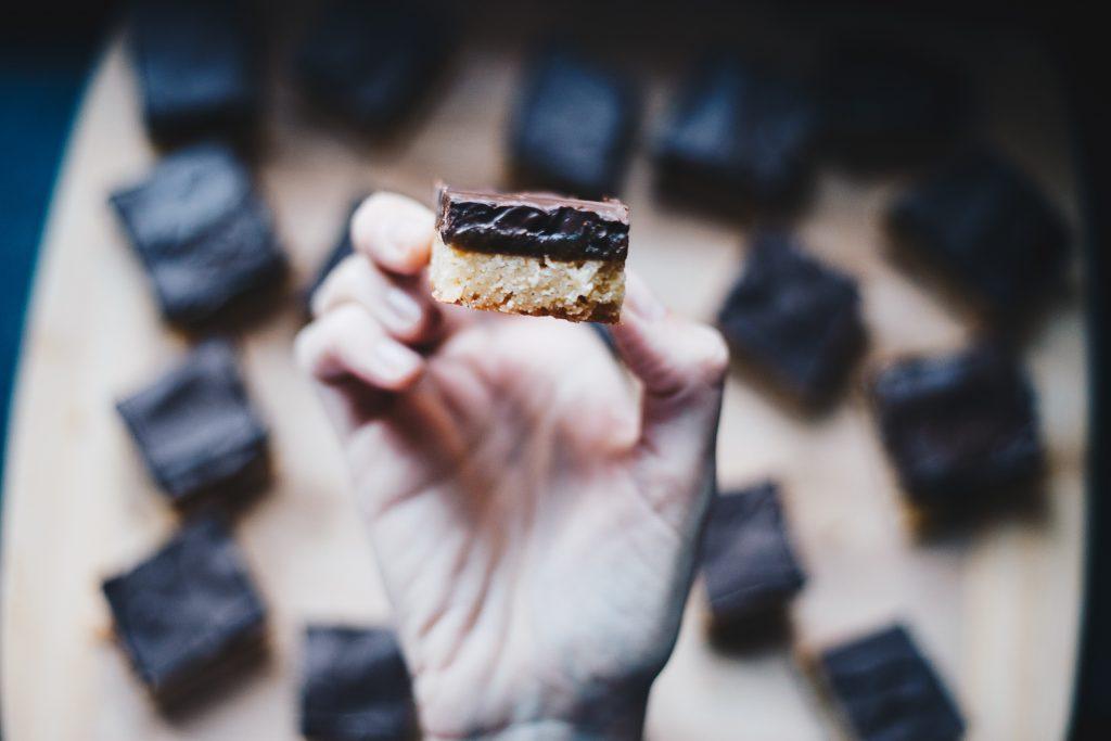 showing layers on vegan millionaire's shortbread