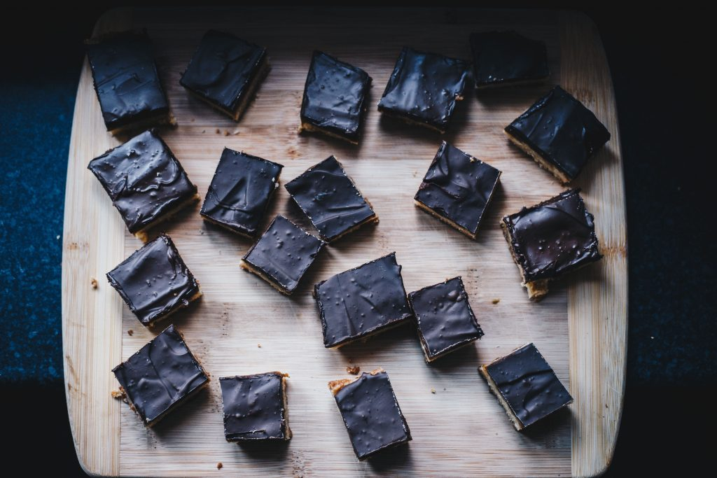 tray of vegan millionaire's shortbread