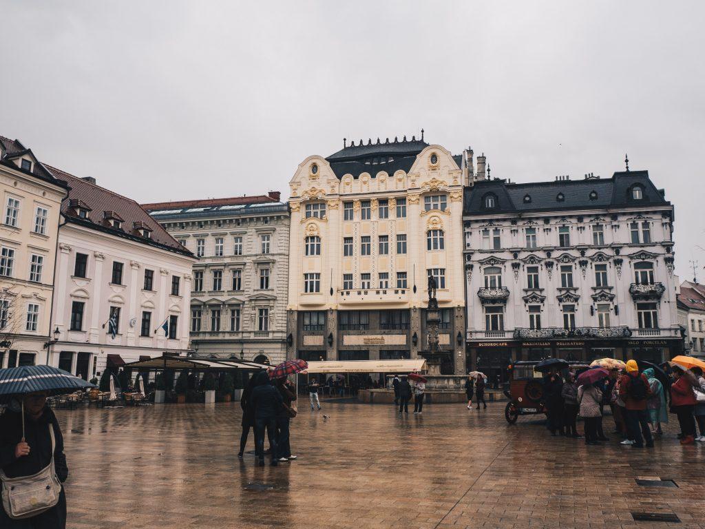 main square in the rain