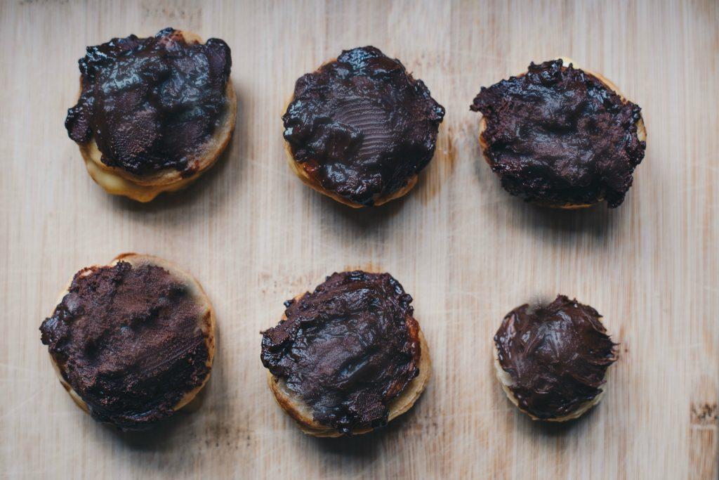 top view of vegan chocolate choux bun
