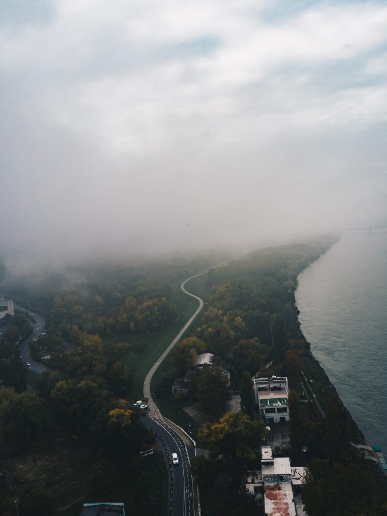 ufo tower view of bratislava in the mist
