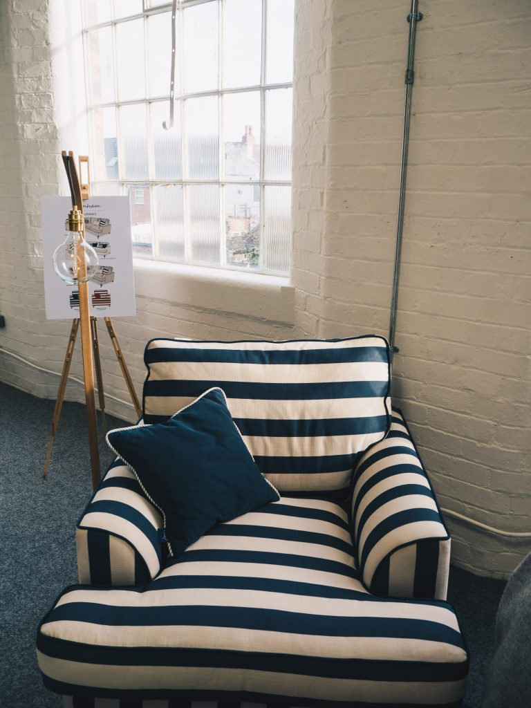 blue and white strip dfs joules armchair