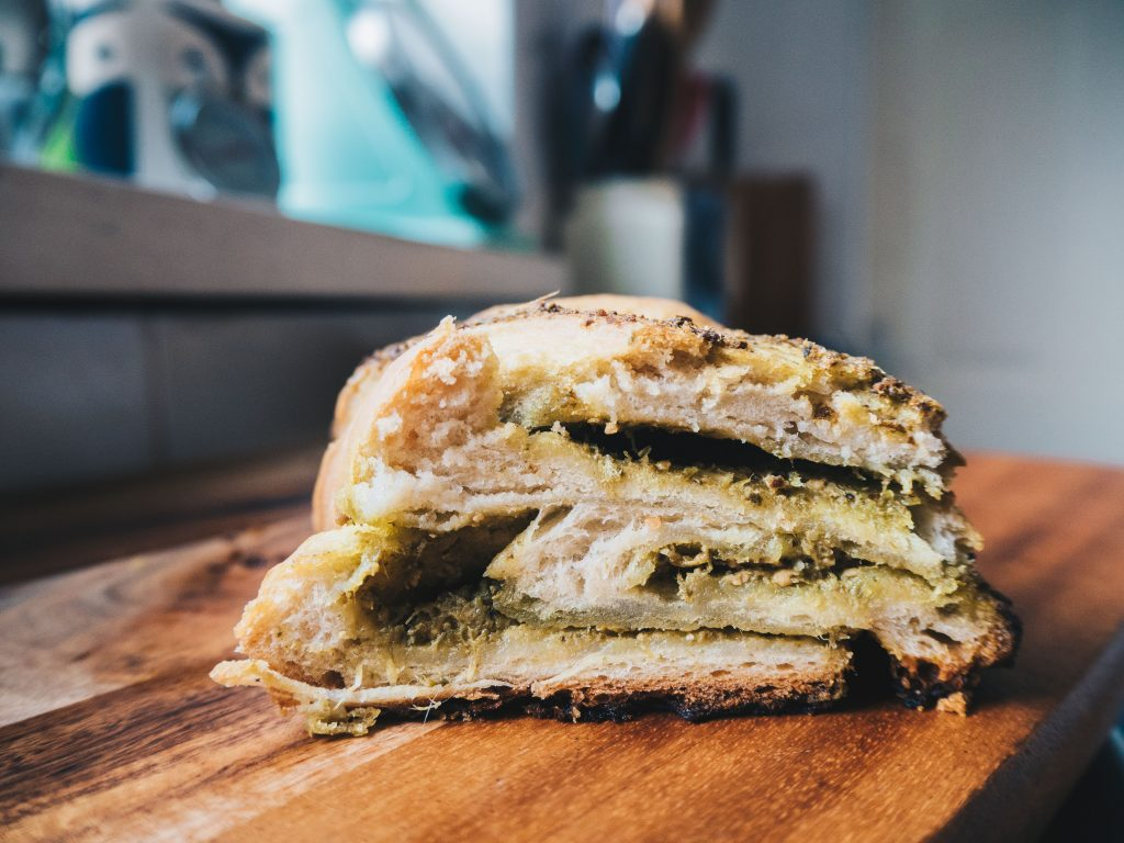 inside pesto bread