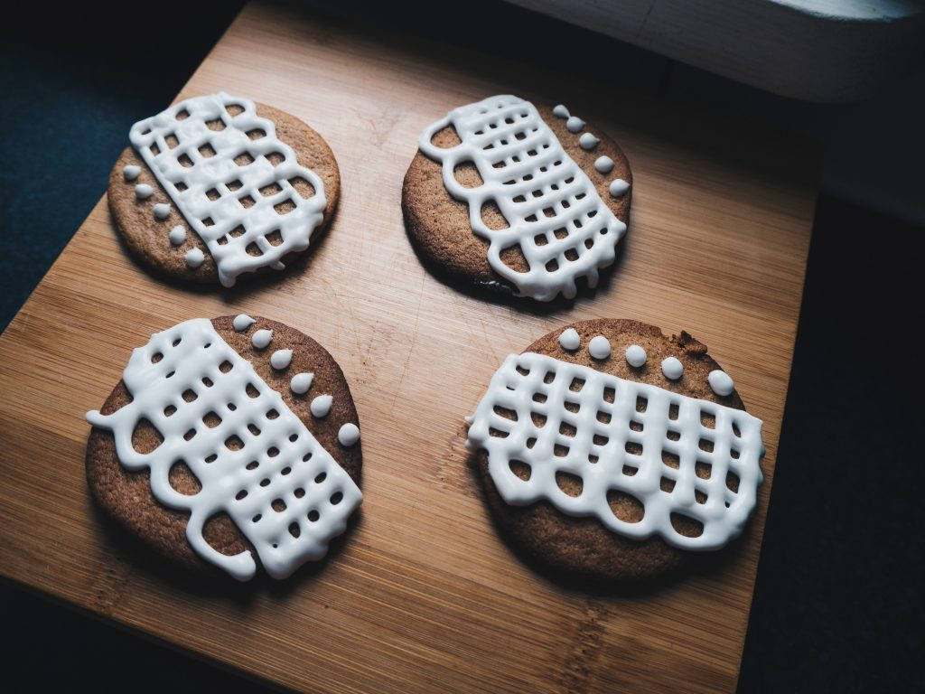 plate of iced ginger biscuits