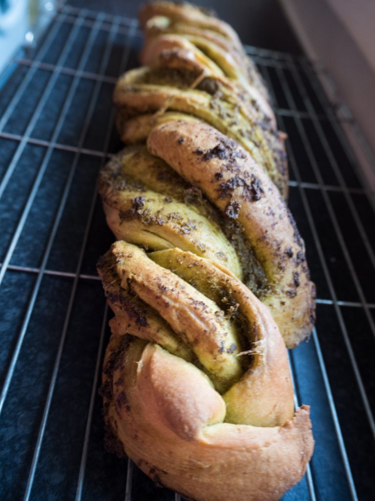vegan braided pesto bread