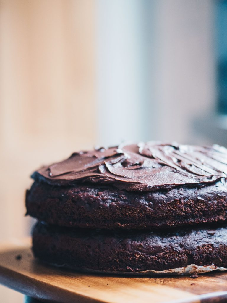 vegan chocolate beetroot cake side view