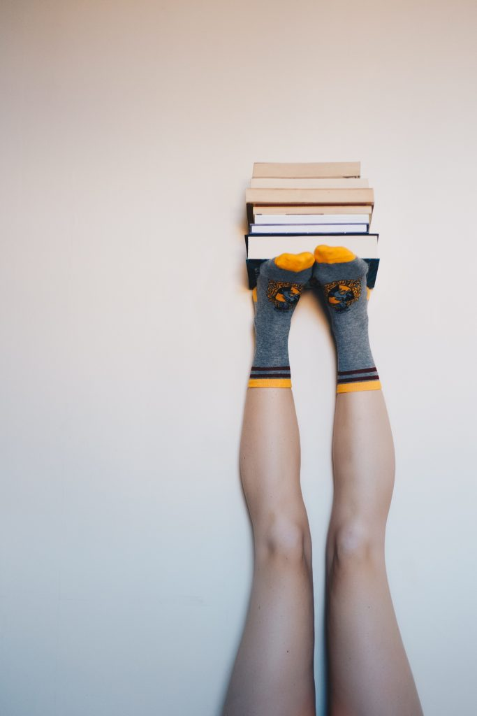 books and feet