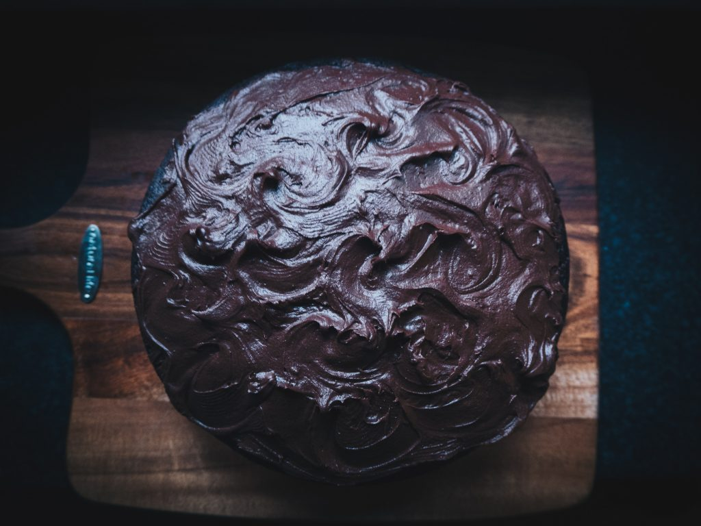 frosted vegan chocolate cake