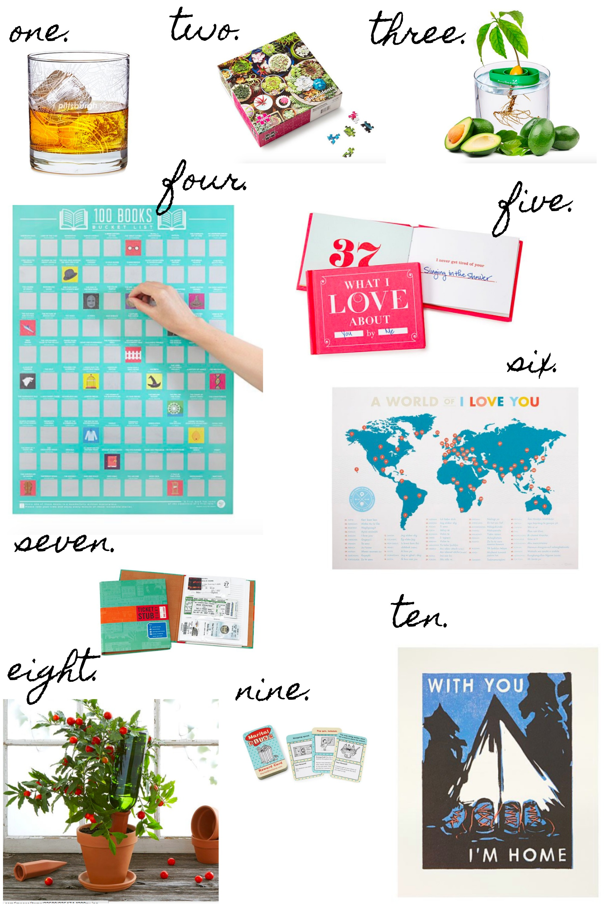 A valentines day gift guide rhyme ribbons uncommongoods 1 city map glass 1027 2 succulents puzzle 1174 3 avocado tree starter kit 1476 4 100 books scratch off poster 1321 5 publicscrutiny Images
